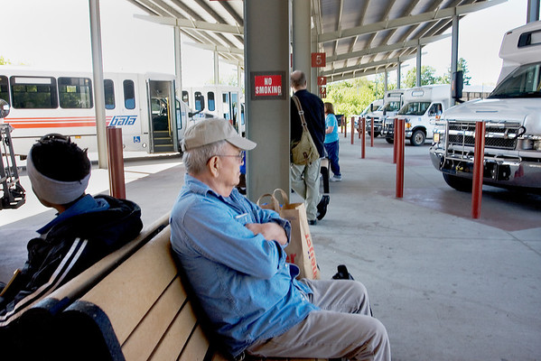 Record-Eagle/ Keith King<br /> Passengers wait at the Bay Area Transportation Authority transfer station Monday in Traverse City.