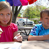 Record-Eagle/Sarah Brower<br /> Siblings Jessica, 8, and Jon Drettmann, 6, both of Traverse City, enjoy ice cream together at Bardon's Wonder Freeze.