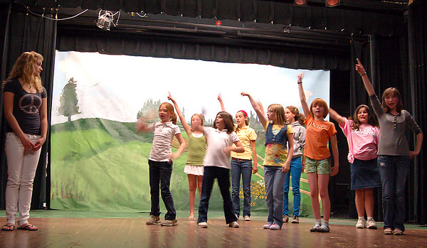 "Record-Eagle/Sarah Brower<br /> Kids of all ages rehearse for an upcoming performance of ""Babe, the Sheep Pig."""