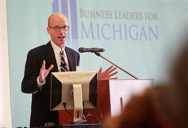 Record-Eagle/Douglas Tesner<br /> Doug Rothwell, president and CEO of Business Leaders for Michigan, was the keynote speaker during the Traverse City Area Chamber of Commerce's Traverse Bay EDC 2010 Annual Meeting.