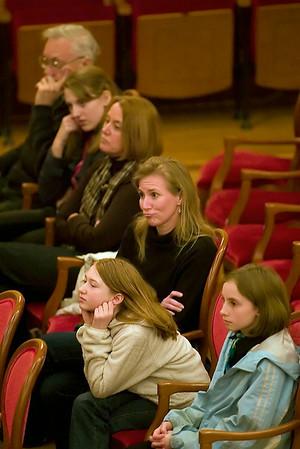 Record-Eagle/Jan-Michael Stump<br /> Spectators watch the last few rounds of competition in the Grand Traverse Regional Spelling Bee Sunday at the City Opera House in Traverse City.