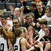 Record-Eagle/Jan-Michael Stump<br /> St. Ignace players celebrate their 65-34 win over Niles Brandywine in the state Class C semifinals with their fans Thursday at the Breslin Student Events Center in East Lansing.