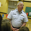 "Record-Eagle/Lisa Perkins<br /> U.S. Coast Guard Vice Admiral John Currier spoke to students at Traverse Heights Elementary last week as part of the ""Adopt-a-School"" partnership between Traverse Heights and Coast Guard Air Station Traverse City."