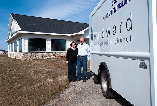 Record-Eagle/Douglas Tesner<br /> Becky and John Scott are pastors at Windward United Methodist Church. The church has moved from holding it services at Traverse City West Junior High School to it own location on U.S. 31 South. It will hold its official opening on Easter Sunday.