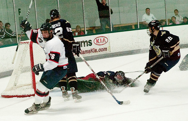 Record-Eagle/Douglas Tesner<br /> Traverse city's Chris Salomone (26) celebrates his goal in the Stars' 7-1 playoff win over Janesville on Friday.