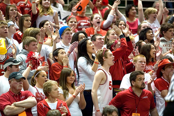 Record-Eagle/Jan-Michael Stump<br /> Suttons Bay fans cheer for the Norsemen as they face Melvindale Academy of Businesss and Technology in the Class C state championship game Saturday at Michigan State University's Breslin Center in East Lansing.