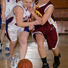 Record-Eagle/Jan-Michael Stump<br /> Central Lake's Makenna Scott (20) and McBain NMC's Brittanee Wilson (23) chase down a loose ball in Tuesday's regional playoff game.