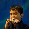 Record-Eagle/Jan-Michael Stump<br /> Third-grader M'Konz John has an apple with his lunch in the Northport Public Schools cafeteria.