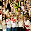 Record-Eagle/Jan-Michael Stump<br /> Suttons Bay fans celebrate during Friday's win.