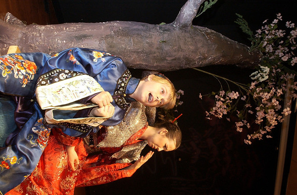 """Record-Eagle/Garret Leiva<br /> Ko-Ko, Hunter Bartlett, sings to Katisha, Marian Tack, in the Woodland School's production of """"The Mikado."""" The school's spring musical will be held 7 p.m. Thursday; 9:30 a.m., 12:30 p.m. and 7 p.m. Friday in the school auditorium, 7224 Supply Road, Traverse City. Admission is $4; tickets sold at the door. For more information, call Woodland School at 947-7474."""