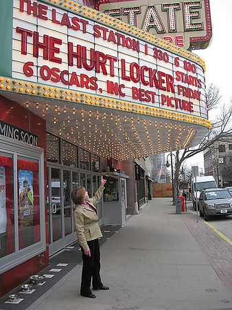 "Record-Eagle/Jodee Taylor<br /> Marsha Jurgensen, of Traverse City, winner of this year's Record-Eagle Oscar contest, plans to use her all-access State Theatre pass to finally see Best Picture winner ""The Hurt Locker."""