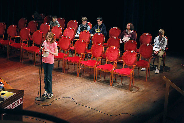 "Record-Eagle/Jan-Michael Stump<br /> Maggie Oliver, an eighth-grader at Grand Traverse Academy, was the runner-up in Sunday's Grand Traverse Regional Spelling Bee at the City Opera House after misspelling ""firth."""