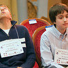 Record-Eagle/Douglas Tesner<br /> Kalvis Hornburg, left, takes a deep breath as Lukas Blakkan-Esser sits next to him.  Blakkan-Esser went on to beat Hornburg at the 28th Annual Grand Traverse Regional Spelling Bee at the City Opera House in Traverse City.