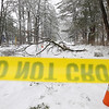 Record-Eagle/Keith King<br /> 'Do not cross' tape and orange cones are set up near a downed line and fallen tree branches Saturday at 17th Street and Cass streets in Traverse City. A portion of Cass Street was also blocked off.