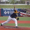 Record-Eagle/Keith King<br /> The Traverse City Beach Bums' Scott Mueller threw two innings to earn the save during an exhibition game at Wuerfel Park.