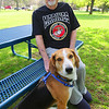 Record-Eagle/Keith King<br /> Howard King sits with his dog, Gunny, at the Grand Traverse Pavilions.
