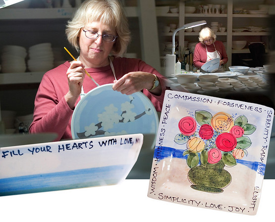 Record-Eagle photos/Jan-Michael Stump; graphic illustration/Pat Putney<br /> Julie Chai paints some of her pottery bowls in her Leelanau County studio Wednesday morning. Her one-of-a-kind bowls make great wedding gifts.