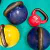 Record-Eagle/Douglas Tesner<br /> Kettlebell weights feature a handle attached to a colorful round weight..