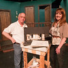 "Record-Eagle/Douglas Tesner<br /> Steve Morse, director and set architect, and Diane Kolak, production designer, stand with a model of their complex set design for ""Noises Off!"" the final show of Old Town Playhouse's 50th anniversary season."