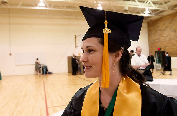 Record-Eagle/Douglas Tesner<br /> Chandra Ross, 37, of Interlochen, graduated with honors at Northwestern Michigan College's commencement ceremony.