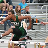 Record-Eagle/ Keith King<br /> Traverse City West's Cody Russell competes in the 110-meter hurdles Saturday, May 22, 2010 during the Division 1 track regional at Traverse City Central High School.
