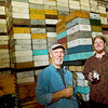 Record-Eagle/Jan-Michael Stump<br /> Sleeping Bear Farms general manager Kirk Jones, left, and mead collaborator Nathaniel Rose pose with some of their honey mead, or wine made from honey. Jones is working on obtaining a license to open a commercial meadery.