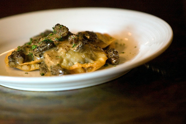 Record-Eagle/Jan-Michael Stump<br /> Hanna's signature morel mushroom ravioli prepared by chef Mike Prior, uses reconstituted dried morels.