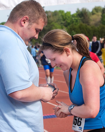 Record-Eagle/Douglas Tesner<br /> When Suzanne Nelson came across the Bayshore Marathon finish line, her boyfriend Andrew Ninman proposed to her. The two had been dating for over three years and she accepted.
