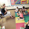 Record-Eagle/Keith King<br /> Julie Wingfield, guest teacher, helps students with an exercise involving shapes and writing Friday in a preschool class at Eastern Elementary School.