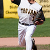 Record-Eagle/Douglas Tesner<br /> Traverse City Central's Collin Casey threw the first game of a non-conference doubleheader Friday at TC Central.
