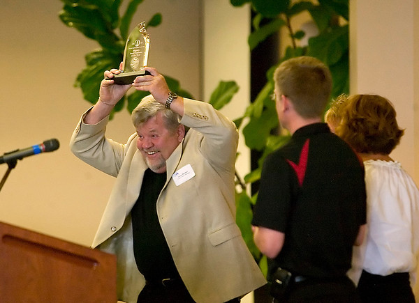 Record-Eagle/Jan-Michael Stump<br /> Great Lakes Stainless president Terry Berden accepts the Hagerty Small Business Award Tuesday at the Hagerty Center.
