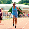 Record-Eagle/Jan-Michael Stump<br /> Grand Traverse Academy's Rachel Zeppa edges Traverse City West's Savannah Stuart-Dahl (right) in the 100-meter dash at the Record-Eagle Honor Roll Meet.