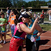 Record-Eagle/ Keith King<br /> Marcia Van Essen, right, and Lisa Kunecki, left, both of Grand Rapids, congratulate each other.