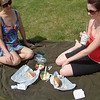 Record-Eagle/Marta Hepler Drahos<br /> Charise Vallone, left, and Kally Etchebarne share a casual picnic at the Open Space this year.