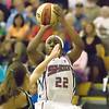 Record-Eagle/Jan-Michael Stump<br /> Shock guard Alexis Hornbuckle (22) shoots over San Antonio forward Erin Buescher (7) in the second half.