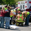 Record-Eagle/Jan-Michael Stump<br /> Four cars were involved in an accident at the intersection of Silver Lake and Zimmerman roads shortly before 4 p.m. Friday. According to witness reports, a white Ford F-150 traveling east on Silver Lake Road struck a Jeep Grand Cherokee in the turn lane of westbound Silver Lake Road. The collision pushed the Jeep into a red Ford F-150 stopped on northbound Zimmerman, and threw some debris onto a Honda Element. Two people were taken to Munson Medical Center.