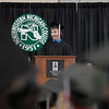 Record-Eagle/Jan-Michael Stump<br /> Northwestern Michigan College Student Government President Michael Diduch speaks during Saturday's commencement ceremony.