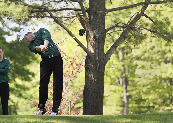 Record-Eagle/Keith King<br /> Traverse City West's Gates Muller tees off Friday during the Big North Conference Jamboree at the Traverse City Golf and Country Club.