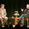 Record-Eagle/Douglas Tesner<br /> Local author Doug Stanton, left, interviews television journalist Tom Brokaw in front of a sold-out crowd during a National Writers Series event at the City Opera House on Wednesday.