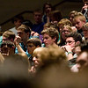 "Record-Eagle/Jan-Michael Stump<br /> Television journalist Tom Brokaw speaks to a group of approximately 560 students and chaperones from a five county area at Traverse City West on Wednesday afternoon. Brokaw gave a presentation titled, ""Tweet is a verb. Writing is Forever."" ""Words have meaning if they address something larger than yourself,"" he said."