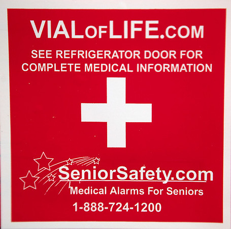Record-Eagle/Douglas Tesner<br /> A sticker placed on the front door aleerts emergency responders to the File of Life packet's presence.