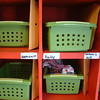 Record-Eagle/Marta Hepler Drahos<br /> Brightly painted cubbies await children at the Melissa's Munchkins daycare facility.