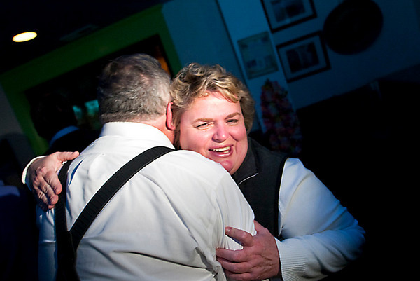 Record-Eagle/Jan-Michael Stump<br /> Jody Bergman and Michael Gillman congratulate each other on their elections to the Traverse City Commission Tuesday at The Catch Island Grill in Traverse City.