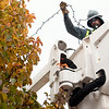 Record-Eagle/Douglas Tesner<br /> Brian Zionskowski, a Traverse City Light &amp; Power employee, hangs lights in the trees along State Street in downtown Traverse City in preparation for the upcoming holiday season.