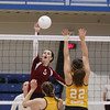 Record-Eagle/Keith King<br /> Charlevoix's Madeline Boss hits the ball against Forest Area Tuesday, November 8, 2011 at Kalkaska High School.
