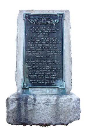 Record-Eagle/Loraine Anderson<br /> The monument to local soldiers who died in the Spanish-American War in 1898 was purchased and dedicated at the same time as the World War I monument.