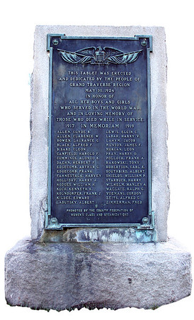 Record-Eagle/Loraine Anderson<br /> The World War I monument located along the north side of the Grand Traverse County Courthouse.