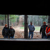 Record-Eagle/Jan-Michael Stump<br /> From left, Terry and June Martin, Clint Marsh and Bernie and Susan Parsons, seen from a hunting blind, have been coming to deer camp in Paradise Township since the early 1990s.