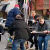"Record-Eagle/Jan-Michael Stump<br /> Crews push a camera on a dolley to film a scene with actor Josh Lucas for ""A Year in Mooring,"" on East Front Street in Traverse City on Sunday afternoon."