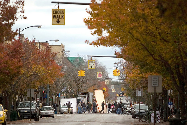 """Record-Eagle/Jan-Michael Stump<br /> East Front Street was closed Sunday to film a scene for """"A Year in Mooring,"""" an independent film being shot in Traverse City."""